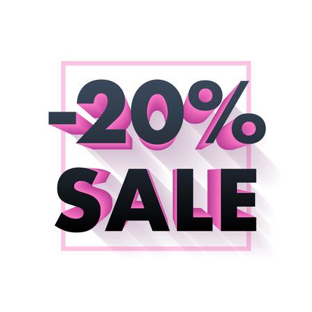 sale off: Sale offer poster banner vector illustration. Volume 3D pink and black letters in frame on white background.