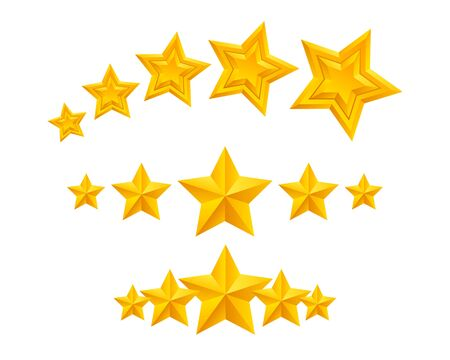 stars and symbols: Stars icons set vector illustration. Assorted symbols. Golden yellow color. Good for ranking and logo design.