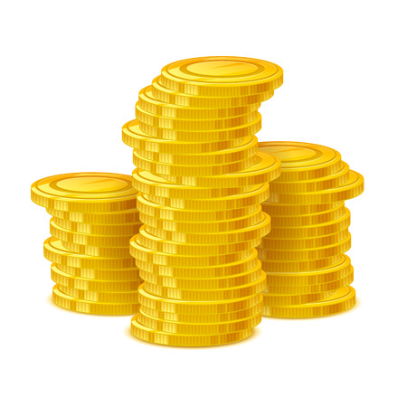 stack of cash: Coins stack vector illustration. Golden money cash. Wealth finance earning income symbol.