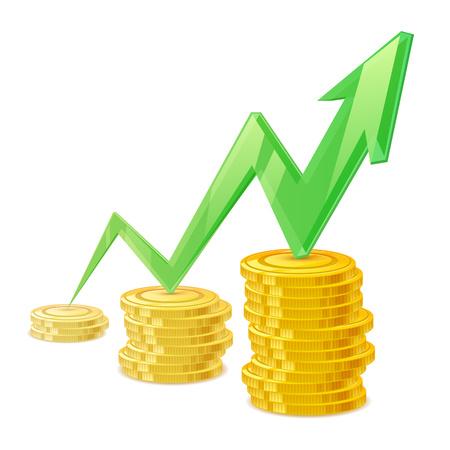 earning: Coins stack vector illustration. Golden money cash. Wealth finance symbol. Green arrow - growing earning income. Illustration