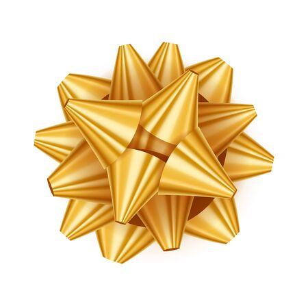 golden ribbon: Gift bow realistic vector illustration. Golden ribbon present box decoration. Good for birthday, christmas celebration design.