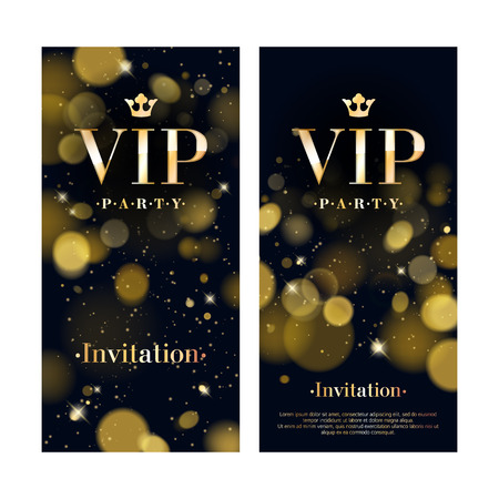 VIP party premium invitation card poster flyer. Black and golden design template. Glow bokeh decorative background.