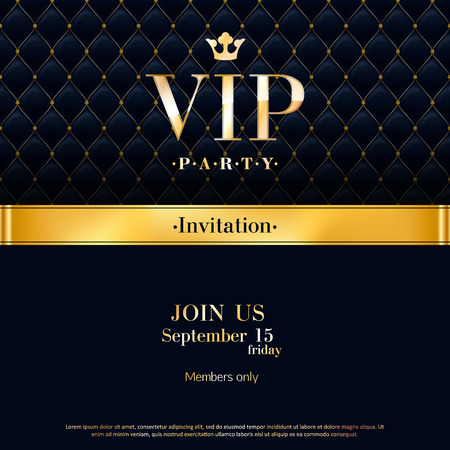 premium quality: VIP party premium invitation card poster flyer. Black and golden design template. Quilted pattern decorative background with gold ribbon and round badge.