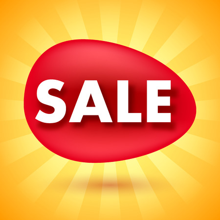 blobs: Sale offer poster banner vector illustration. Paper text letters on red blobs and shiny yellow abstract background.