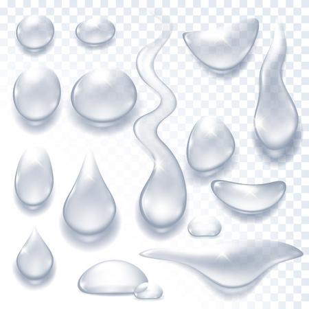 Waterdruppels realistische vector illustratie. Regen tranen dauw template.