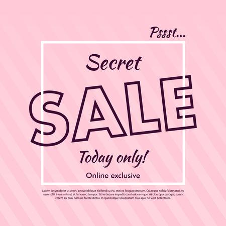 secrets: Secret Sale offer poster banner vector illustration. Text letters on abstract pink background with diagonal lines. Good for ad, promo, web design. Illustration