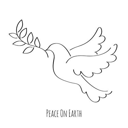 Dove Symbol des Friedens Hand gezeichnet Vektor-Illustration.
