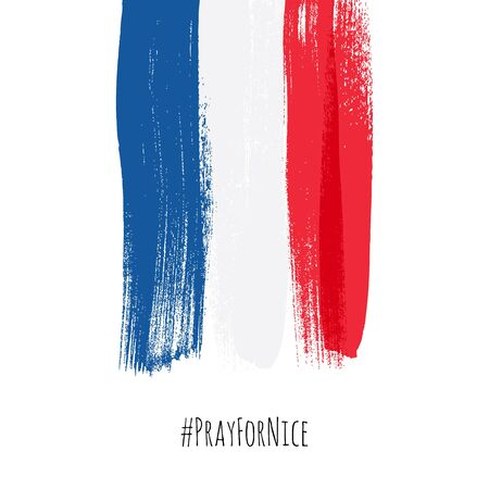 grief: Pray for Nice hashtag with flag of France vector illustration. World support for France - sorrow grief symbol. Terrorist attack in Nice on July 14, 2016. Paint brush texture.