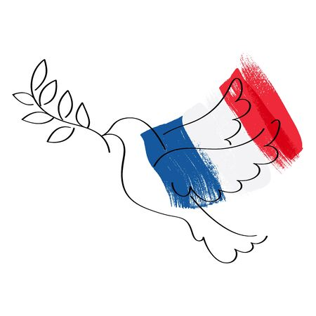 grief: Dove symbol of peace and flag of France vector illustration. World support for France - sorrow grief symbol. Terrorist attack in Nice on July 14, 2016. Paint brush texture. Illustration