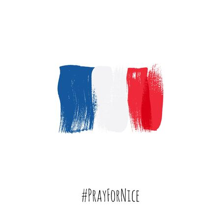 terrorist attack: Pray for Nice hashtag with flag of France vector illustration. World support for France - sorrow grief symbol. Terrorist attack in Nice on July 14, 2016. Paint brush texture.