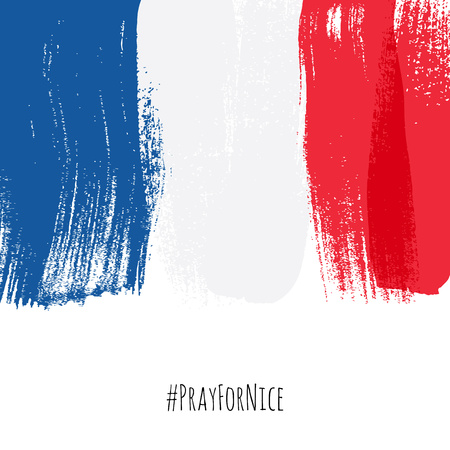 pray for: Pray for Nice hashtag with flag of France vector illustration. World support for France - sorrow grief symbol. Terrorist attack in Nice on July 14, 2016. Paint brush texture.