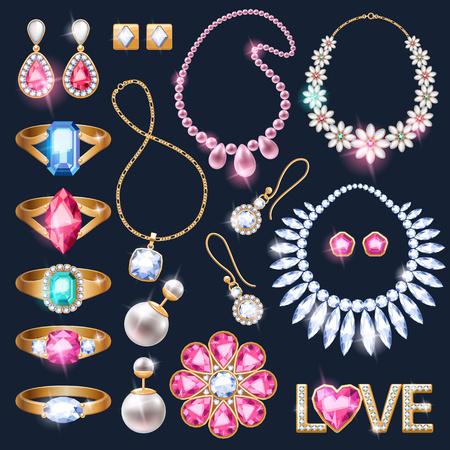 Accessori gioielli realistiche icone set. Collana Bracciale catena d'oro illustrazione anelli di diamante perla orecchini pendenti vettore. Archivio Fotografico - 63970724