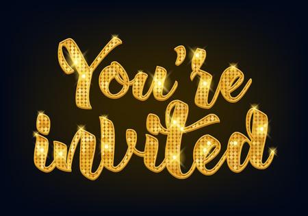 Zapraszam do pisania ilustracji wektorowych projekt z plam i wstążki. Złote litery metalowe. Dobry na wesele uroczystości urodzinowe.