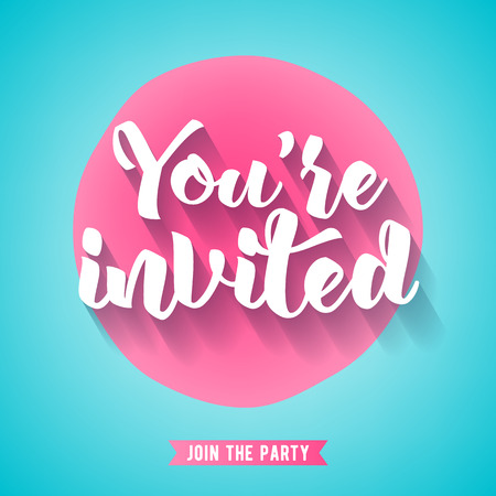 Youre invited lettering design vector illustration with stain and ribbon. Pink and turquous sweet girly background. Good for wedding birthday party celebration design.