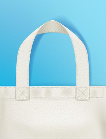 Eco bolsa de asas textil comprador en la ilustración azul del fondo del vector. Bueno para el diseño del cartel volante banner de publicidad de marca.