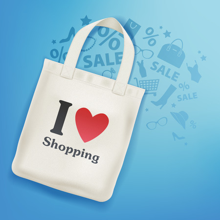 Eco textile tote shopper bag on blue background vector illustration. I love shopping message on bag. Goods icons - shoe sale dress heart star. Good for branding advertising banner poster flyer design.