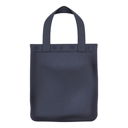linen: Eco textile black tote shopper bag vector illustration. Good for branding design.