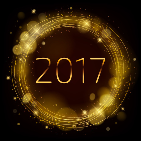 gold circle: Golden glow 2017 new year background vector illustration. Calendar greeting card design typography template. Round frame with shining stars and sparkles with bokeh.