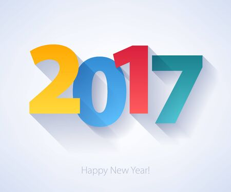 Happy New Year 2017 colorful background. Calendar design typography vector illustration. Paper white design with shadows. Vettoriali