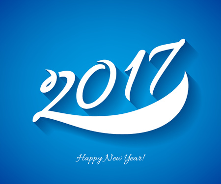 display type: Happy New Year 2017 background. Calendar design typography calligraphic vector illustration. Paper white digits with shadows on colorful background. Illustration