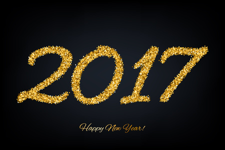 year greetings: Golden glitter glow 2017 new year background vector illustration. Calendar greeting card design typography template.