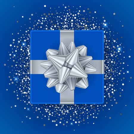 blue gift box: New year christmas blue gift box with silver ribbon and bow - top view vector illustration. Glitter glow sequines on blue background. Good for seasonal advertising poster banner flyer design. Illustration