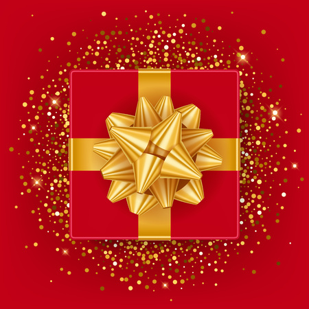 New year christmas red gift box with gold ribbon and bow - top view vector illustration. Glitter glow sequines on red background. Good for seasonal advertising poster banner flyer design.