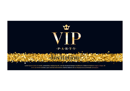 gift card: VIP party premium invitation card poster flyer. Black and golden design template. Glow glitter dust decorative background.