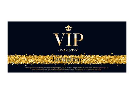 VIP premium parti affiche de carte d'invitation dépliant. modèle de conception noir et or. Glow poussière de paillettes fond décoratif.