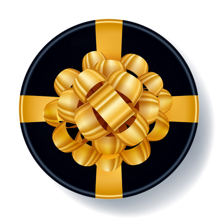 Round black gift box with golden ribbon bow top view vector illustration Beautiful realistic present box template for birthday christmas new year design. Illustration