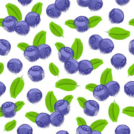 bilberry: Blueberry bilberry painted vector seamless pattern. Berries background. Painted fruits. Hand drawn paintbrush sketch. Good for menu poster flyer restorant grocery store design.