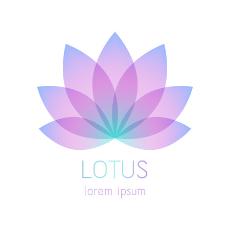 Modelo de símbolo de flor de lótus linda. Bom para spa, centro de yoga, salão de beleza e desenhos de logotipo de medicina. Sinal místico esotérico.