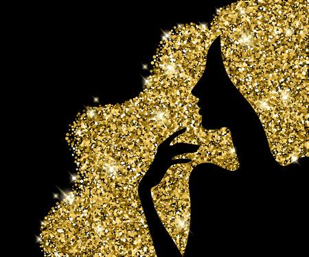silueta ilustración vectorial hermosa chica de pelo dorado. La mujer del diseño de la belleza - bueno para el salón de spa peluquería estilo de lujo publicitaria de viajero cartel. Estrellas y destellos.