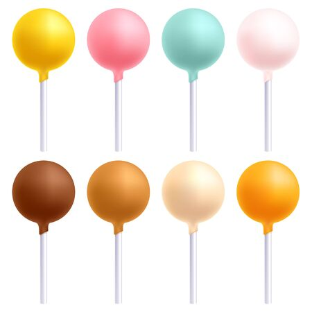 vanilla cake: Colorful cake pops set. Sweet cookies on stick. Decorated sweets. Caramel chocolate vanilla bakery. Illustration