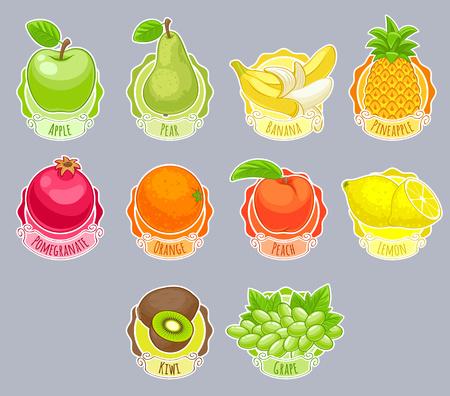 pomegranat: Assorted fruits stickers set vector illustration. Sweet juicy apple pear pineapple pomegranat orange peach lemon kiwi grape isolated on white background.