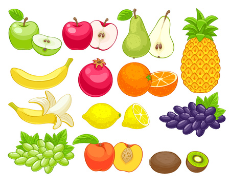 red grape: Assorted fruits set vector illustration. Sweet juicy apple pear pineapple pomegranat orange peach lemon kiwi grape isolated on white background.