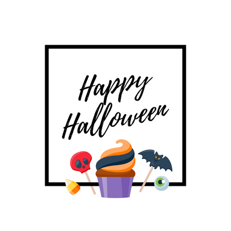candy corn: Halloween sweets colorful party background. Candy corn caramel jelly bean cupcake apple cookie, good for holiday design. Halloween greetings. Illustration