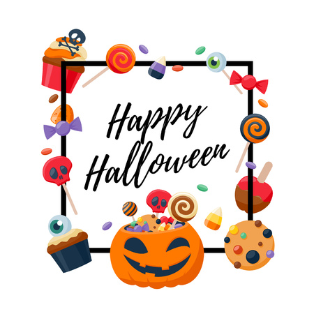 halloween greetings: Halloween sweets colorful party background. Candy corn caramel jelly bean cupcake apple cookie, good for holiday design. Halloween greetings. Illustration
