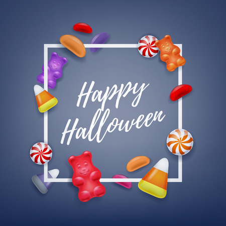 gummy: Halloween sweets colorful party background. Candy corn caramel jelly bean gummy bears, good for holiday design. Halloween greetings.