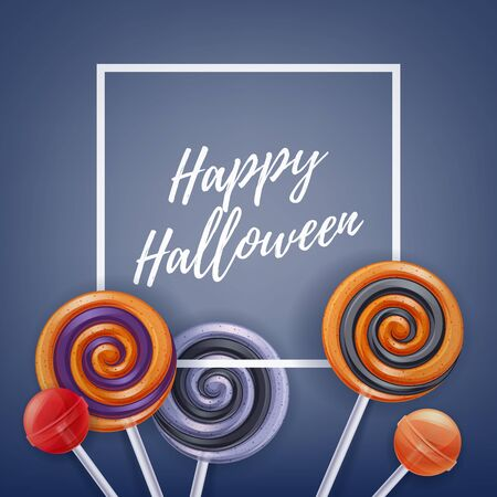 halloween greetings: Halloween sweets colorful party background. Lollipop candy cake pops, good for holiday design. Halloween greetings.