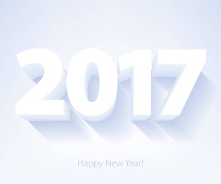 elegant white: Happy New Year 2017 background. Calendar design typography vector illustration. 3D white digits design with shadows.