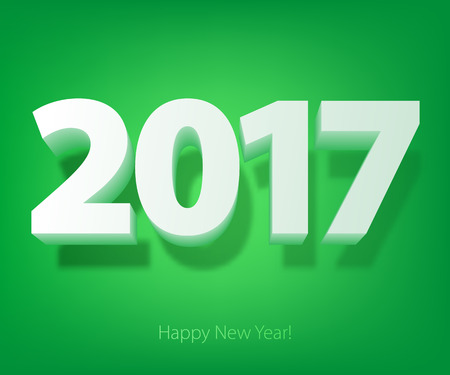 graphic display cards: Happy New Year 2017 background. Calendar design typography vector illustration. 3D white digits with shadows on green back.