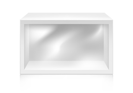 box design: Paper white box with window mock-up template. Good for packaging design. Vector illustration.