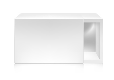 box: Paper white box with window mock-up template. Good for packaging design. Vector illustration.