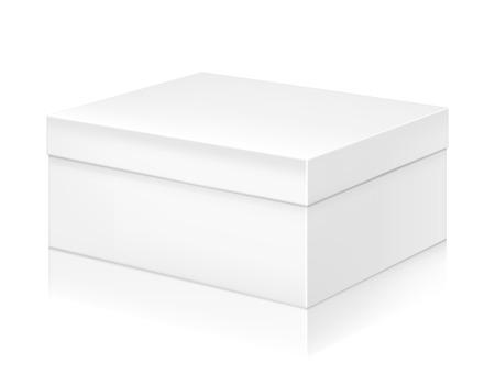 scatola di scarpe di carta bianca modello di mock-up. Buon per il confezionamento di progettazione. Illustrazione vettoriale.