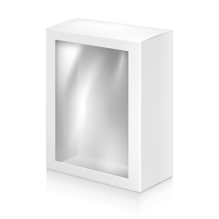 window: Paper white box with window mock-up template. Good for packaging design. Vector illustration.