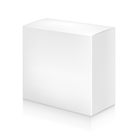 Paper white box mock-up template. Good for packaging design. Vector illustration.  イラスト・ベクター素材