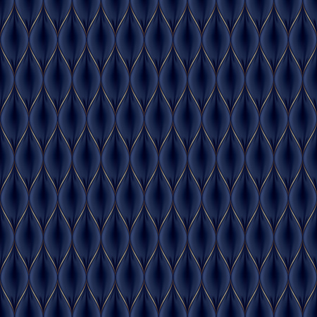 Quilted simple abstract seamless pattern with golden lines. Black color.