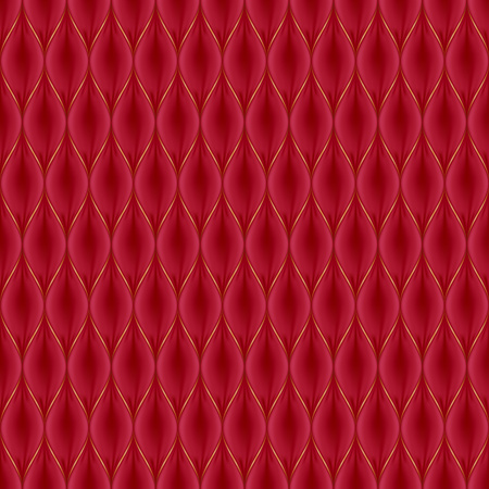 quilted: Quilted simple abstract seamless pattern with golden lines. Red color. Illustration