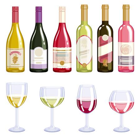 bebida: garrafas de vinho e copos ícones ajustados. ilustração vetorial álcool. vinho tinto, vinho branco, aumentou variedades de vinho.